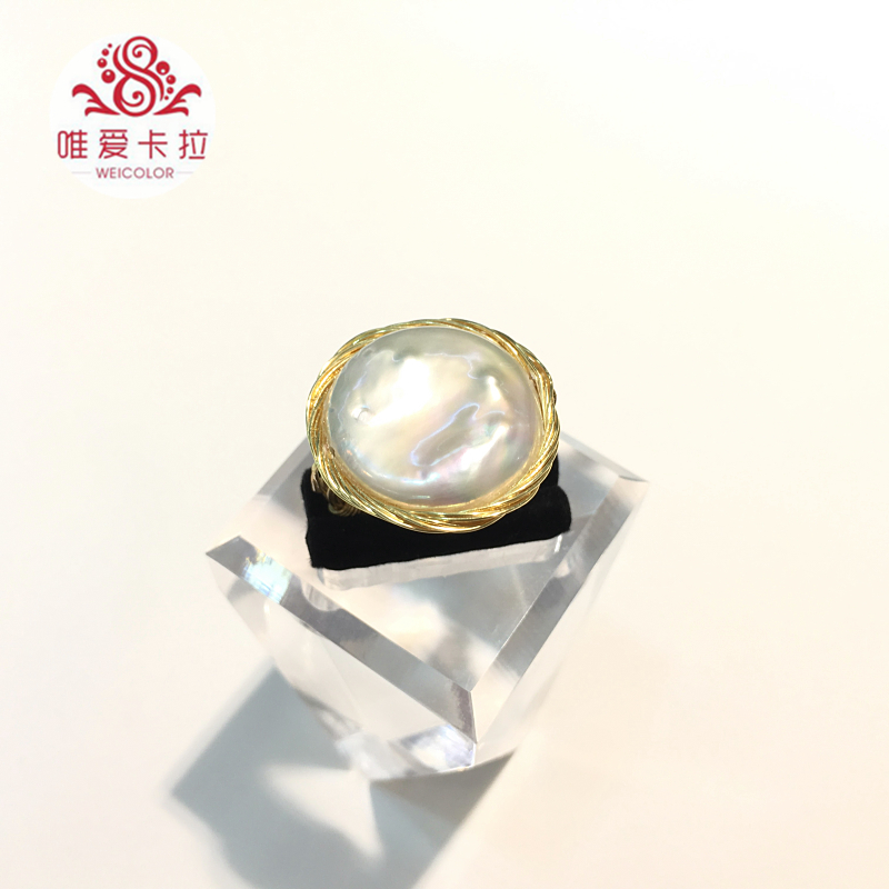 WEICOLOR DIY Design Handmade Ring.18 22mm Good Natural Freshwater Coin Pearl on Gold Mixed. Contact for Size in Diameter. - 4