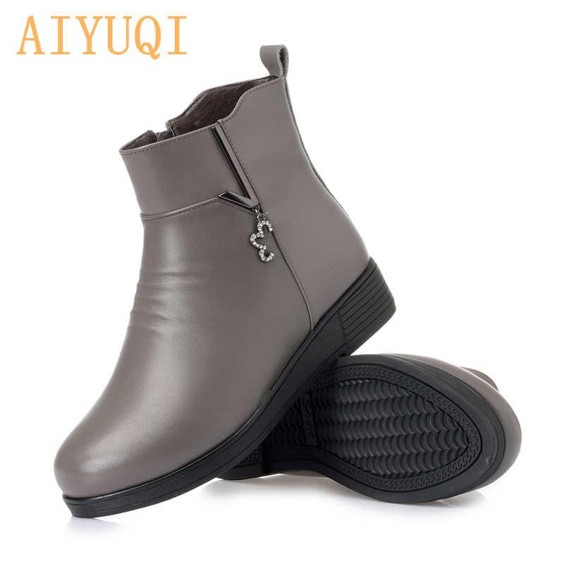 AIYUQI kadın kar botları kış 2019 yeni hakiki deri kadın patik büyük boy 35-43 # düz alt moda anne bot ayakkabı