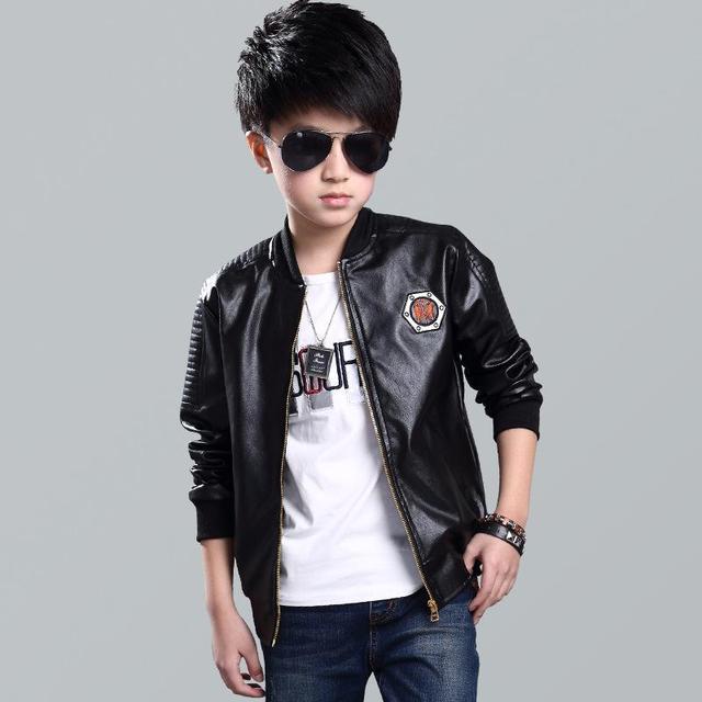 5 16 Year Boys Bomber Pu Leather Jacket 2018 New Fashion Kids Jacket
