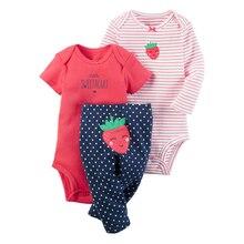 Детские Для мальчиков и девочек комплект одежды клубника (Длинные рукава + с короткими рукавами + Штаны) для мальчиков Bebes детское приданое Комплекты для девочек Roupa Infantil