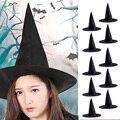 Behogar 10 шт./компл. для взрослых  унисекс  цвета: черный  ткань Оксфорд с капюшоном в виде шляпы ведьмы на Хэллоуин костюм аксессуары Кепки рожде...