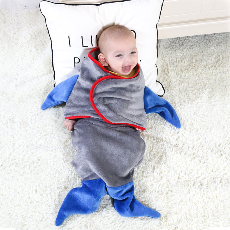 Newborn Baby Stroller Envelope Swaddles Shark Fish Mermaid Sleeping Bag 0-9 Months Flannel Soft Sleepwear For Spring Autumn