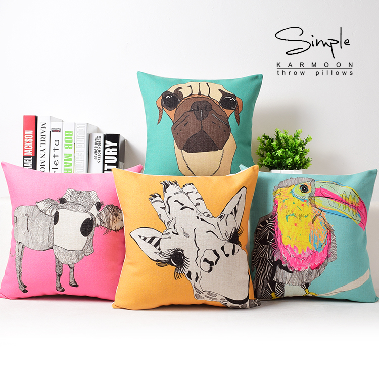 Funny Animal Cushion Cover Toucan Throw Pillow Case Zebra Owl Dog Adorable Pink Zebra Print Decorative Pillows