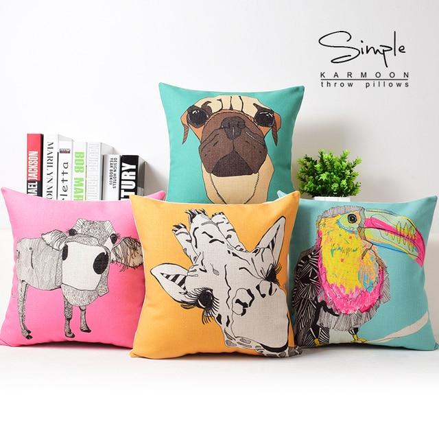 Funny Animal Cushion Cover Toucan Throw Pillow Case Zebra Owl Dog ...