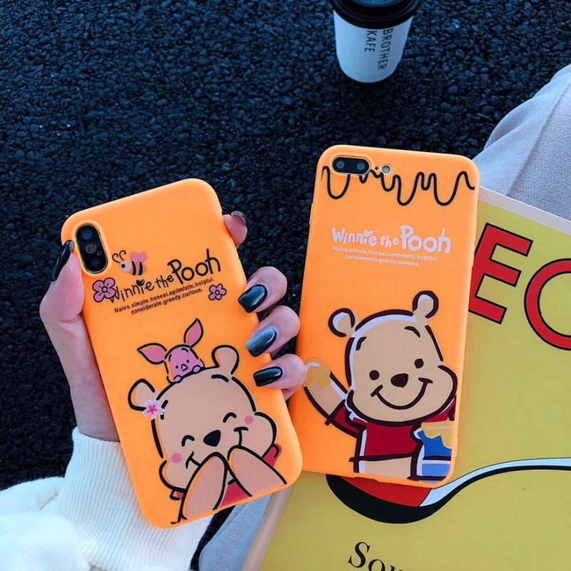 Hot Cartoon Anti fall Cover Case For iphone 6 6S plus 7 8plus X 10 XR XS Max Cute Cartoon Winnie Pooh Piglet soft phone Cases in Half wrapped Cases from Cellphones Telecommunications