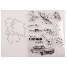 Boy Guitar Happy Days Clear Stamp and Metal Cutting Dies Seal for DIY Scrapbooking photo album Card Making Decoration Supplies