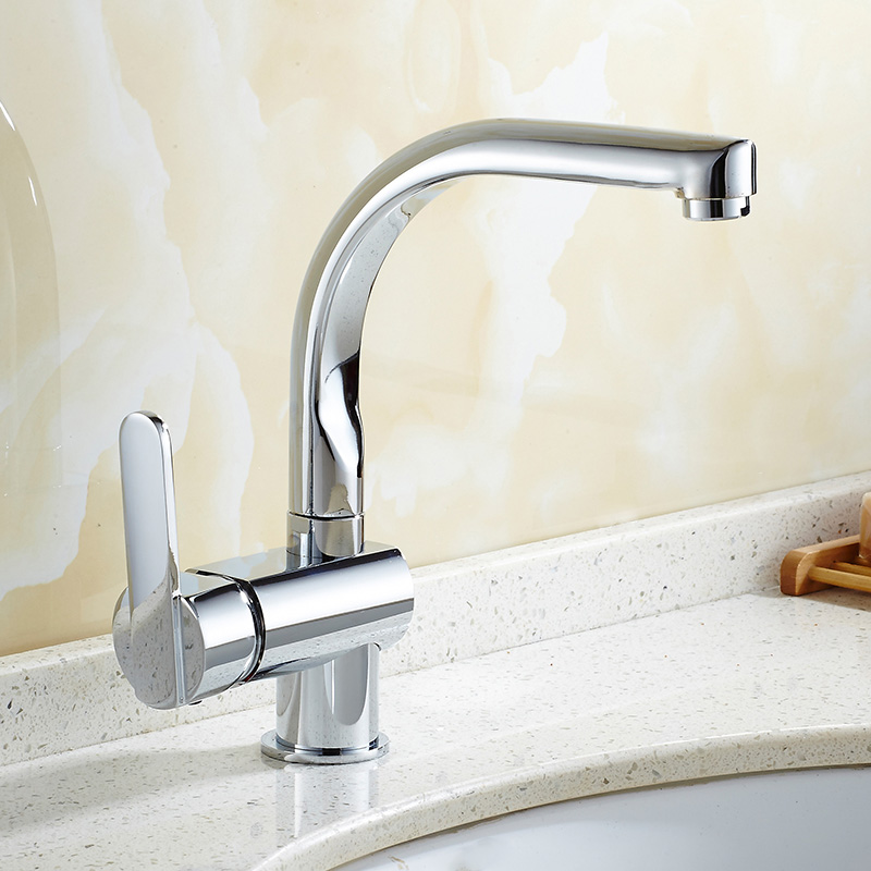 DONYUMMYJO Basin Faucet Bathroom Water Tap Solid Brass Chrome Finish 360 Degree Rotation Single Handle Water