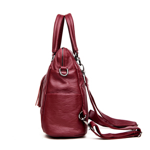 Image 2 - 2019 תכליתי נשים תרמילי עור נשי בציר כתף שקיות sac Dos Femme גבירותיי Bagpack מוצק נסיעות חזרה חבילה