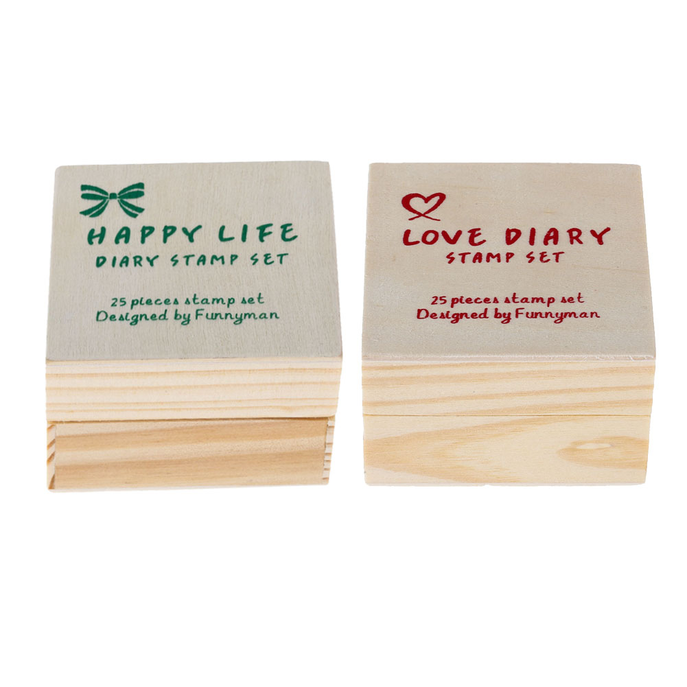 25pcs/Set Cute Cartoon Lovely Diary Pattern Wooden Rubber Stamp Cute DIY Writing Wood St ...