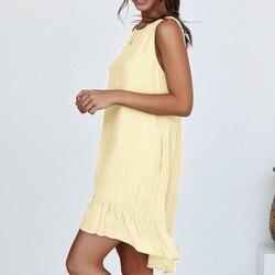 Sexy sukienka damska moda damska bez rękawów jednolity kolor na co dzień plisowane luźne abiti donna letnia sukienka 5