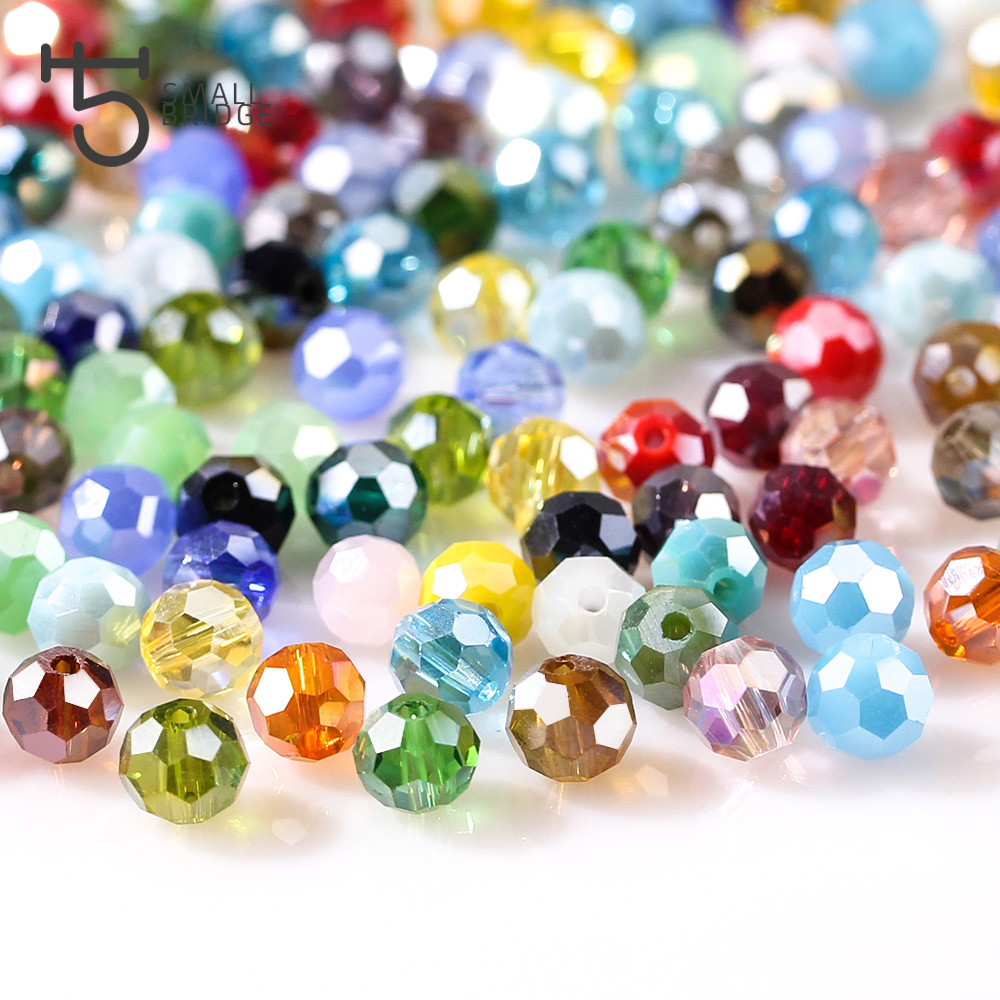 3 4 6 8 mm Czech AB Color Glass Beads Round with Hole Faceted Crystal Beads for Jewelry Making Handmade Supply 100pcs Lot Z174