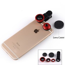 Fish eye universal 3 in 1 mobile phone chip lenses fisheye wide angle macro camera for iphone 6s 7s 7plus samsung S6 S5 S4