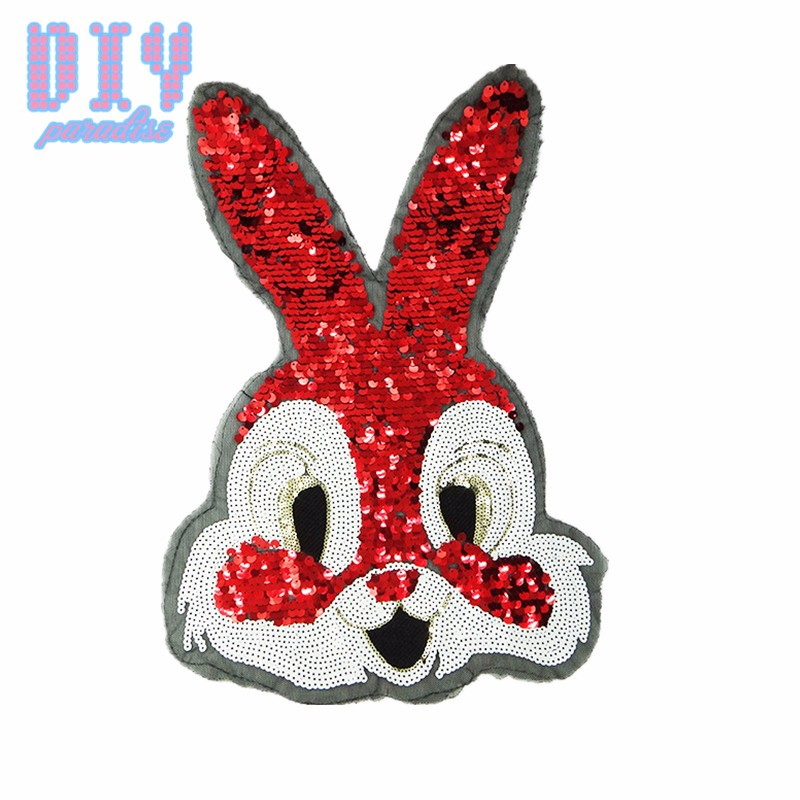 ᑐLindo Conejo Rojo Lentejuelas Coser Parches Apliques de Tela de ...