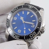 40mm Nologo Men's Watch Automatic Movement Sapphire Glass Brushed Case Rubber Strap