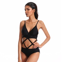 2018 Hot Sale High Cut Out One Piece Swimwear Women Swimsuit Sexy Bathing Suit One piece Swim Wear Female Solid Black Beachwear