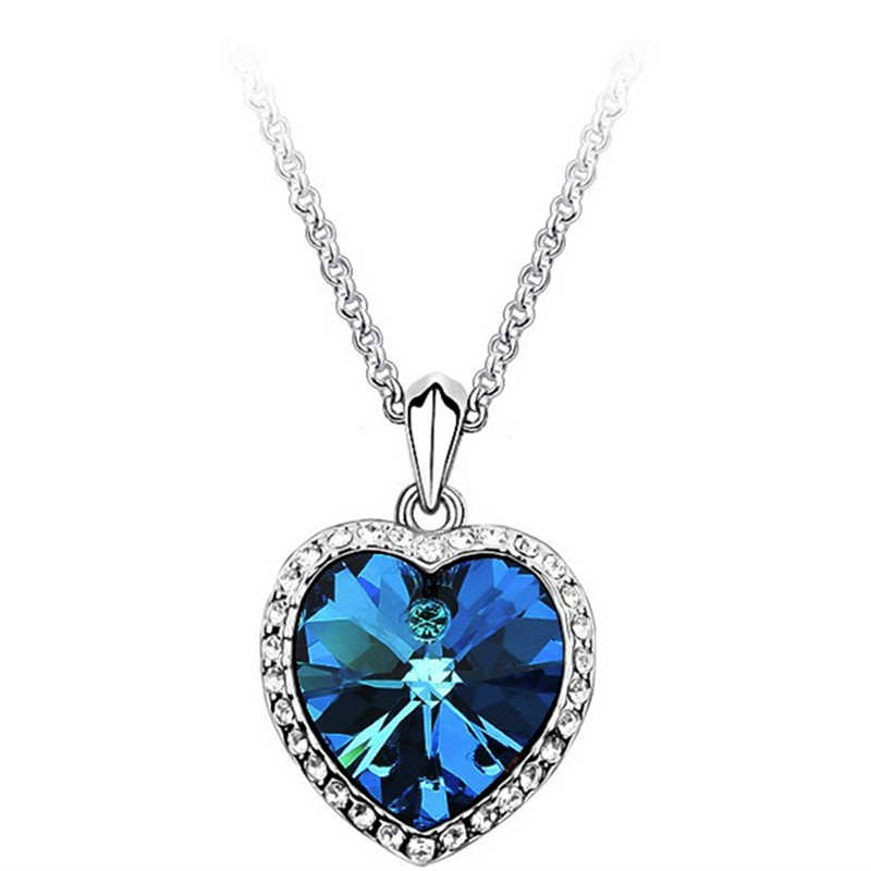 Blue Crystal Necklaces & Pendants Short Necklace Women Jewelry Bijoux Chockers Necklace Heart Charms Statement Necklace Blusas