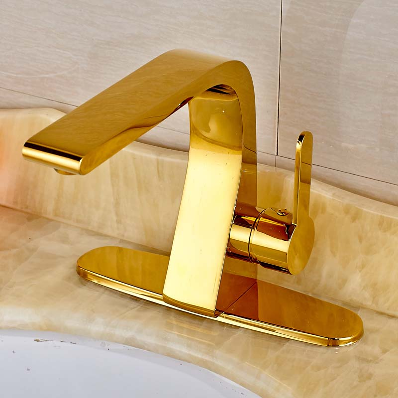 Modern Style Golden Color Solid Brass Bathroom Sink Faucet Single Handle Mixer Tap with Cover Plate modern style golden color bathroom sink faucet single handle mixer tap solid brass deck mounted