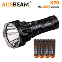 ACEBEAM K70 Handheld Flashlight CREE XHP35 LED max 2600 lumens outdoor torch 1300 meter for search rescue + 4*3100mAh battery