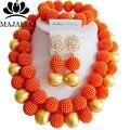 Мода нигерии свадьба африканские бусы Комплект ювелирных изделий orange пластиковые бусы ожерелье браслет серьги комплект ювелирных изделий VV-080