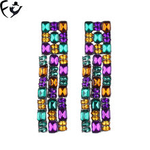 FY European fashion temperament long fringe crystal glass alloy earrings trend show earrings(China)