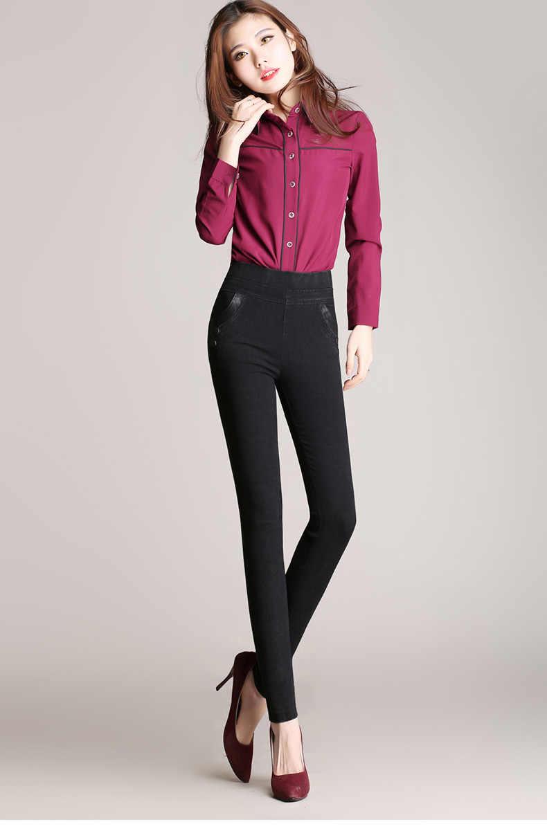 Большие размеры имитация джинсов брюки женские 2018 весна осень брюки с эластичной резинкой на талии женские старинный карандаш узкие джинсы 2283