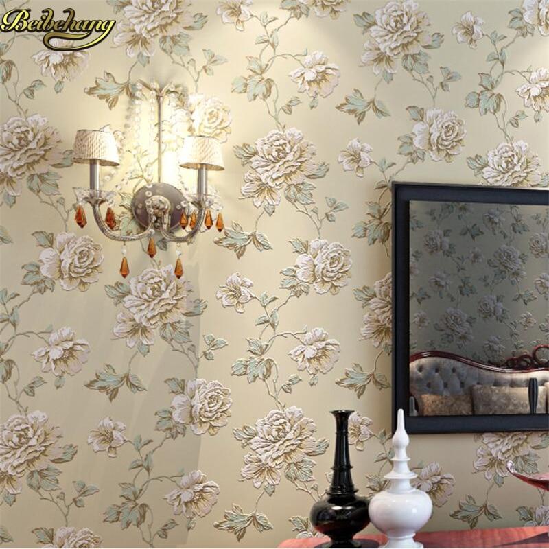 beibehang Non - woven wallpaper 3D stereo engraving American retro pastoral flower papel de parede bedroom living room full shop beibehang wall paper pune girl room cartoon children s room bedroom shop for environmental non woven wallpaper ocean mermaid