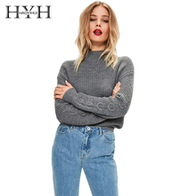 HYH HAOYIHUI Turtleneck Women Sweaters Long Sleeve With Metal Ring Knitting Pullover Jumper Casual Autumn Sweater