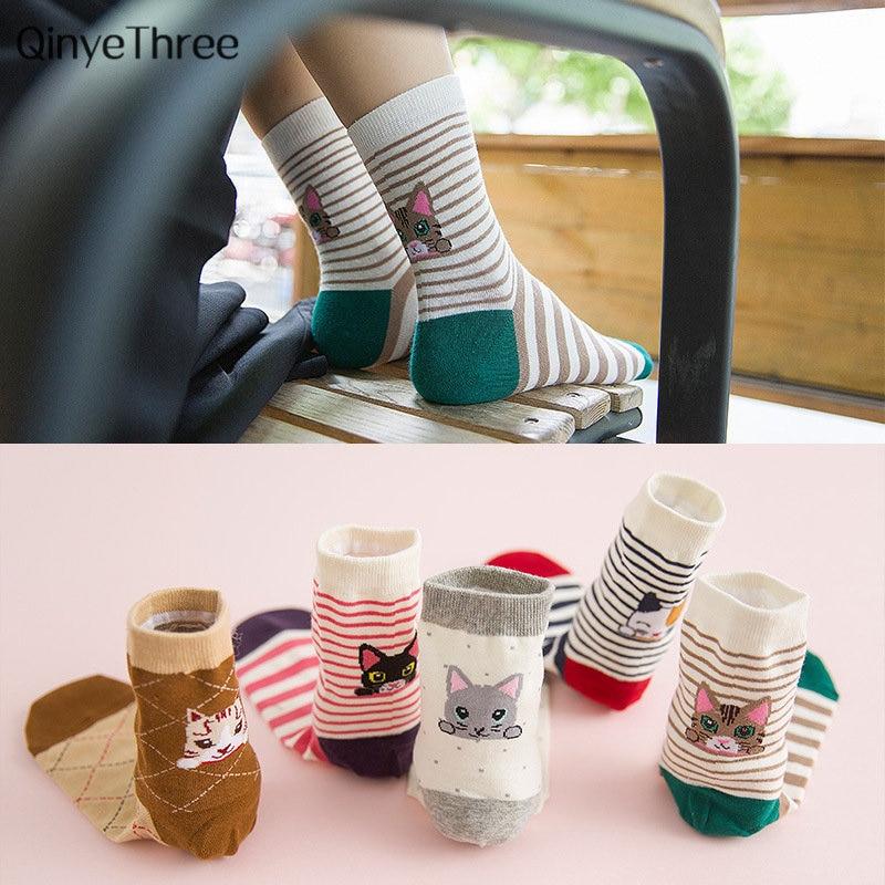 Забавные для женщин зима кошка теплые мягкие хлопковые носки