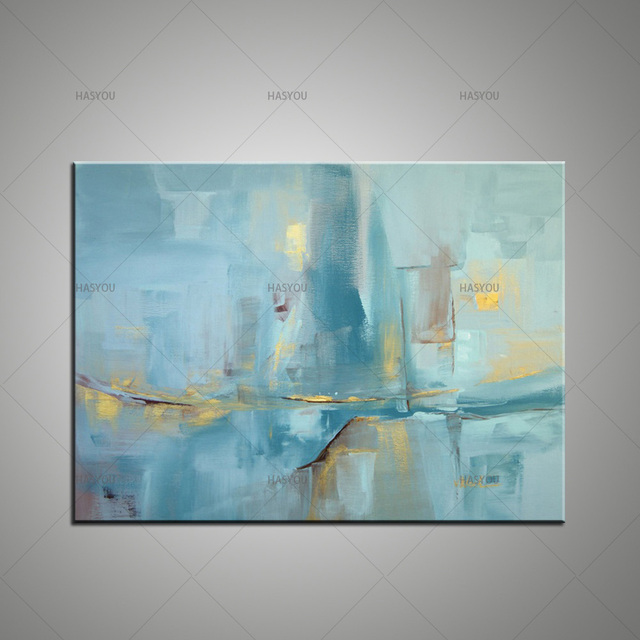 large hand painted modern abstract light blue color texture oil