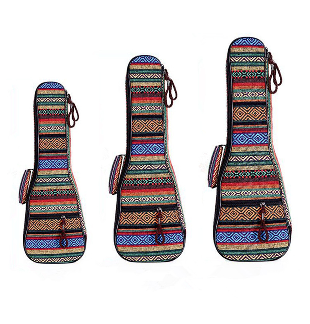 ZONAEL 21 23 26 Inch Padded Cotton Folk Portable Bass Guitar Gig Bag Ukulele Case Box Cover Guitar Backpack with Double Strap free shipping 40inch folk guitar cover waterproof 41inch folk bag travel guitar case 41inch guitar bag folk shoulder strap bag