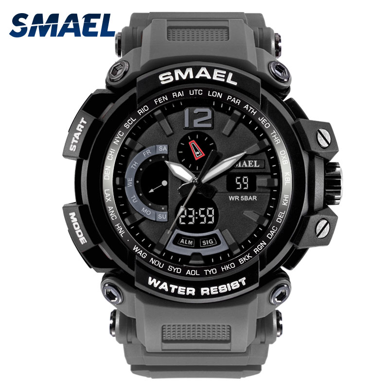 SMAEL Brand LED Watch Waterproof 50M Sport Wrist Watches Stopwatch 1702 Grey Military Watch Digital LED Clock Army Watch for Men smael lady watch for woman sport waterproof watch top brand luxury men digital wrist watch 1632 children nurse valentine watch