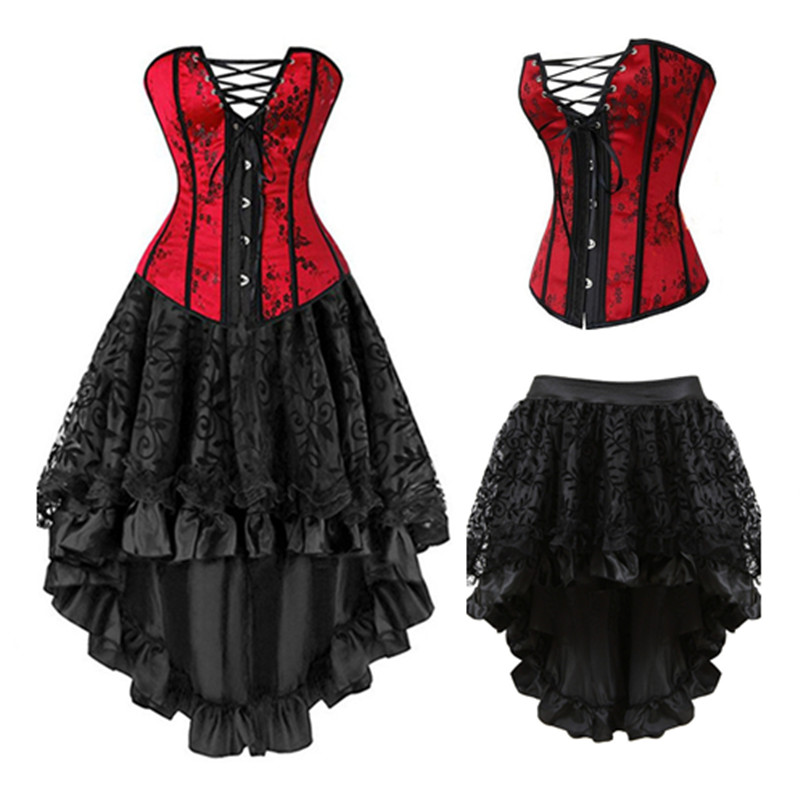 Red Set Steampunk   Corset   Dress   Bustier   Gothic Corselet Sexy   Corsets   Women Lace Party Hot Lingerie Plus Size S 6XL Long Dresses