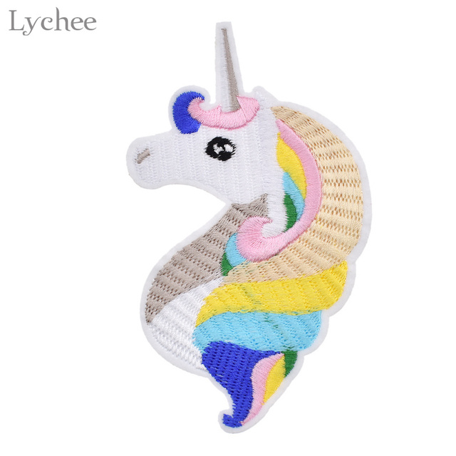 Lychee Colorful Unicorn Patch Embroidered Iron On Patch For Clothing ...