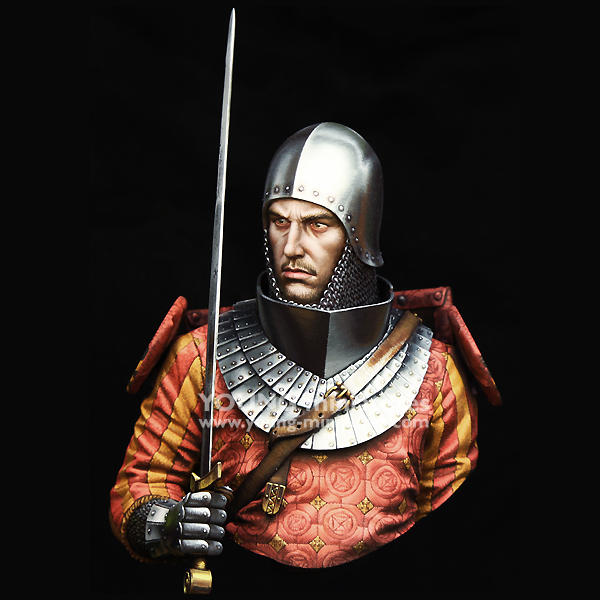 1/10 resin figure bust model medieval knight 14th century history theme GK white model hand X119