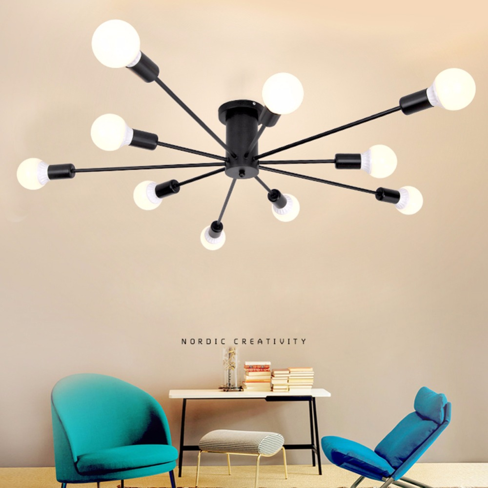 Modern Ceiling Lights Loft Spider E27 lighting Multiple ding room bedroom Lamp Creative Wrought Iron fixtures