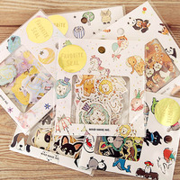 70 pcs/lot DIY Cute Kawaii Bear Owl PVC Decoration Stickers Cartoon Dog Cat Sticky Paper For Photo Album Free Shipping 3332