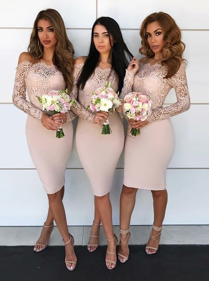 Simple Blush   Bridesmaid     Dresses   Short Long Sleeves Knee Length Lace Maid Of Honor   Dress   Cheap Holiday Dinner Party Gowns 2019