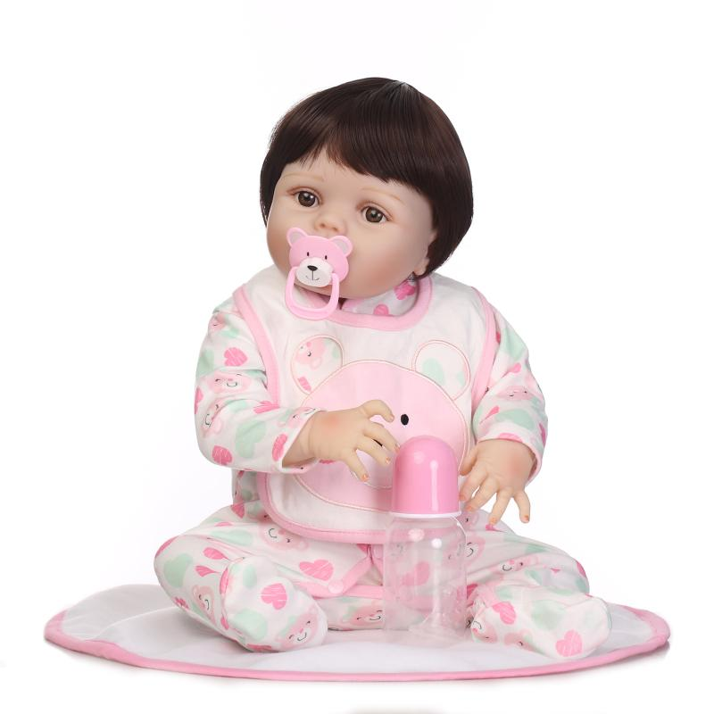 56cm Full Silicone Reborn Girl Baby Doll Toy Lifelike  Newborn Princess Toddler Babies Doll Kids Birthday Gifts Play House Toy