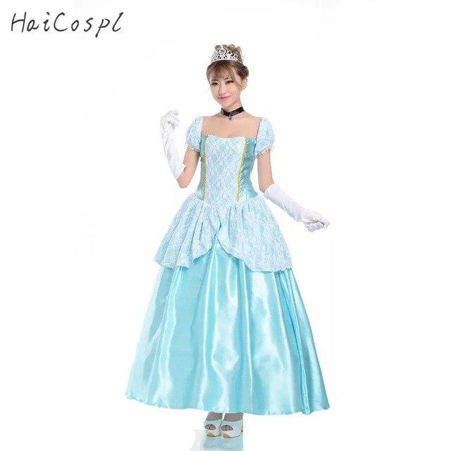 3d66bfd7e6f05 Cenerentola Dress Costume Cosplay Donne Ragazze Principessa Travestimento  Sexy Halloween Festa di Carnevale Fantasia Femminile Abbigliamento