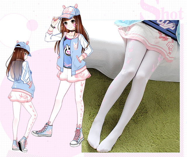 free shipping New Game OW D.VA Lolita Girl Pink Rabbit Stockings