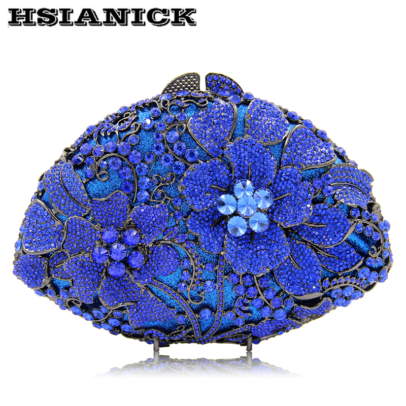 2018 Europe and United States luxury flowers diamond evening bag hand bag high-end fan-shaped hollow handbag party clutch bag europe tiger design hot selling high end luxury full diamond evening bag holding evening clutch handbag wedding party clutch bag