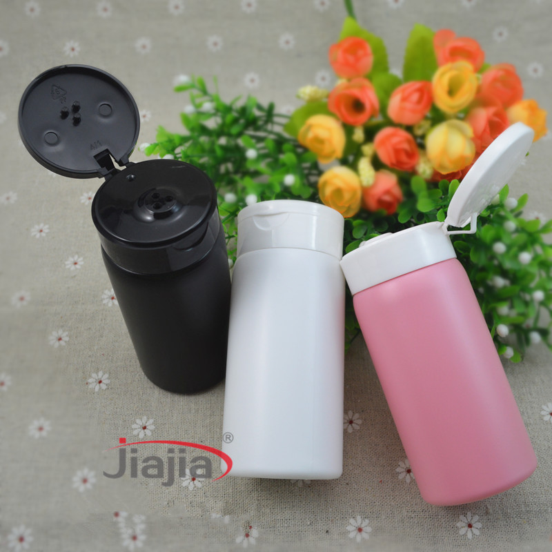 Free shipping 30 pcs lot 80g talcum powder bottles Sifter Bottle black pink 80ml Plastic Pearl