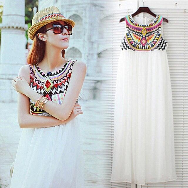 New Fashion Sexy Dresses Bohemian Ethnic Style Embroidery Vest Sleeveless Chiffon Dress