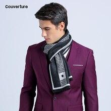 Новинка, роскошный брендовый деловой мужской шарф с буквенным принтом, Шелковый кашемировый шарф, шаль, хорошее качество, зимние теплые шарфы для мужчин, 180*30 см