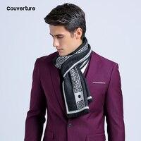Мужской шарф из шелка и кашемира с буквенным принтом, теплый зимний шарф хорошего качества, 180*30 см, 2019