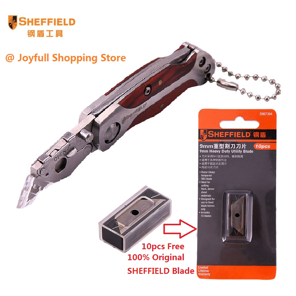 SHEFFIELD Brand New Mini Utility Knife Stainless steel Folding Knife Box Paper Cutter Portable Pocket Quick change Blade Knife image