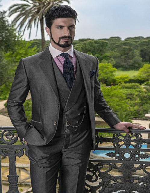 Italian Suits Business Affairs Suit Wool Blend Groom Tuxedos ...