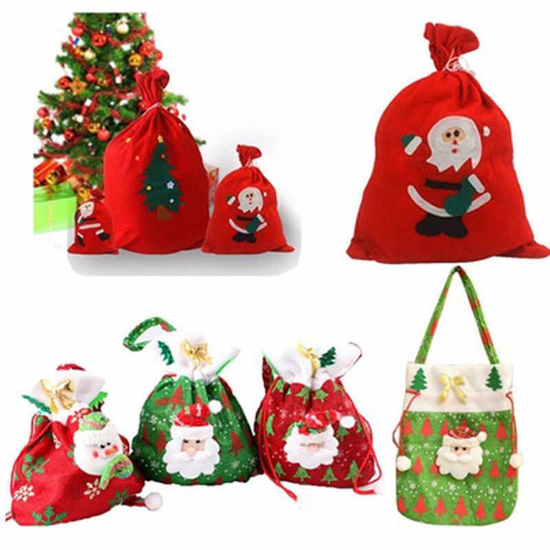 Рождественская конфетка сумка декор дерева декоративное украшение Санта Клаус Снеговик Снежинка