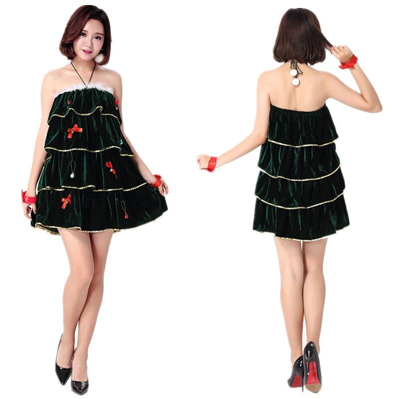 nueva llegada de la navidad festival custume adulto traje de santa dress seora falda del rbol