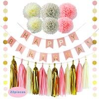 HAOCHU 22pcs Birthday Party Decorative Props Supplies Tissue Paper Pom Poms Gold Pink Round String Garland